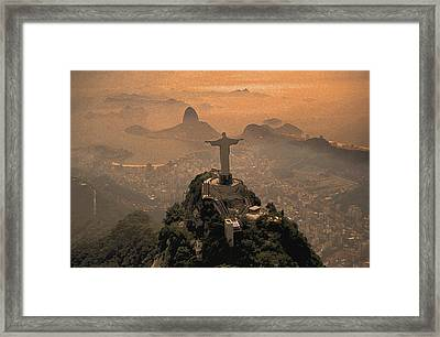 Jesus In Rio Painted Framed Print by Christian Heeb