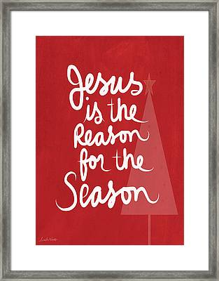 Jesus Is The Reason For The Season- Greeting Card Framed Print by Linda Woods