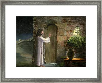 Jesus Knocking On The Door Framed Print by Cecilia Brendel