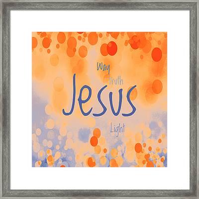 Jesus Light 2 Framed Print by Angelina Vick