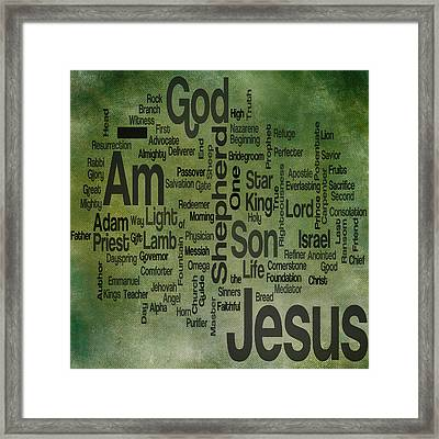 Jesus Name 1 Framed Print by Angelina Vick