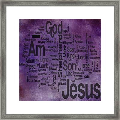 Jesus Name 2 Framed Print by Angelina Vick