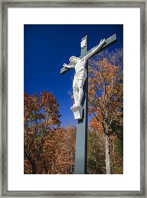 Jesus On The Cross Framed Print by Adam Romanowicz