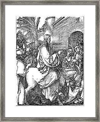Jesus On The Donkey Palm Sunday Etching Framed Print by