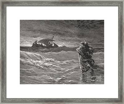 Jesus Walking On The Sea John 6 19 21 Framed Print by Gustave Dore