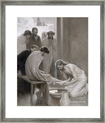 Jesus Washing The Feet Of His Disciples Framed Print by Albert Gustaf Aristides Edelfelt