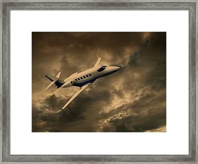 Jet Through The Clouds Framed Print by David Dehner