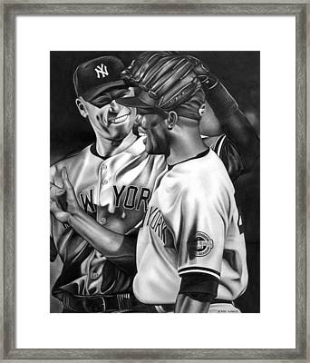 Jeter And Mariano Framed Print by Jerry Winick