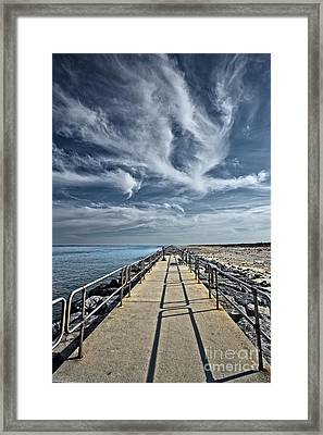 Jetty At Barnegat Lighthouse Framed Print by Tom Gari Gallery-Three-Photography