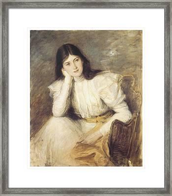 Jeune Fille Reveuse Portrait De Berthi Capel Framed Print by Jacques-Emile Blanche