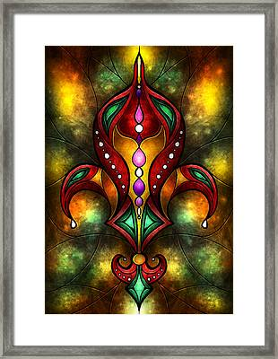 Jeweled Fleur De Lis Framed Print by Mandie Manzano