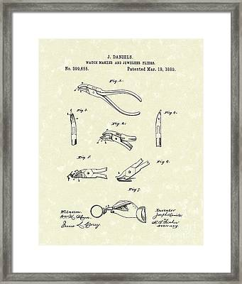 Jeweler's Pliers 1889 Patent Art Framed Print by Prior Art Design