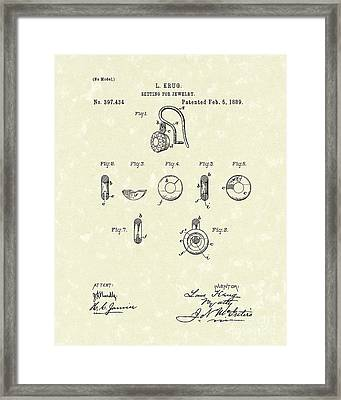 Jewelry Setting 1889 Patent Art Framed Print by Prior Art Design