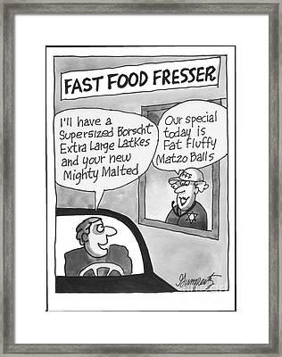 Jewish Fast Food Framed Print by Robert Gumpertz