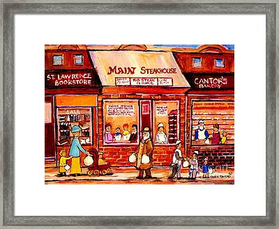 Jewish Montreal Vintage City Scenes Cantor's Bakery Framed Print by Carole Spandau