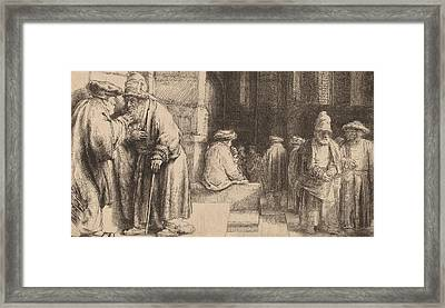 Jews In The Synagogue Framed Print by Rembrandt