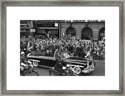 Jfk Cavalcade Dublin 1963 Framed Print by Irish Photo Archive