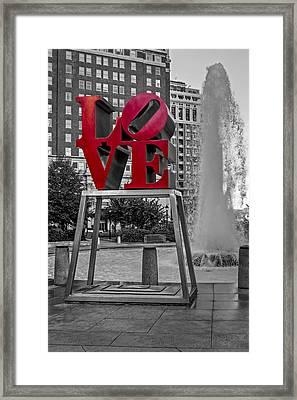 Jfk Plaza Love Park Bw I Framed Print by Susan Candelario
