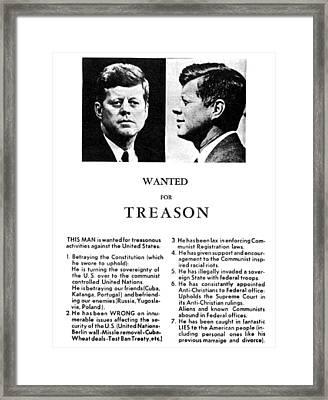 Jfk Treason Poster Framed Print by Underwood Archives