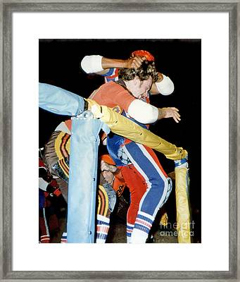 Jim Fitzpatrick Vs Jo Jo Stafford In Old School Roller Derby  Framed Print by Jim Fitzpatrick