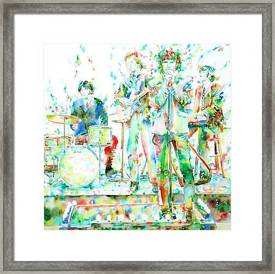 Jim Morrison And The Doors Live On Stage- Watercolor Portrait Framed Print by Fabrizio Cassetta