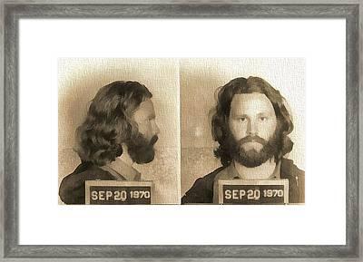 Jim Morrison Mug Shot Framed Print by Dan Sproul