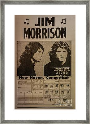 Jim Morrison Mugshot Framed Print by Mitch Shindelbower