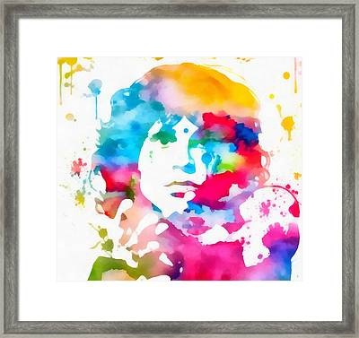 Jim Morrison Paint Splatter Framed Print by Dan Sproul