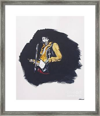 Jimi At Monterey 2 Framed Print by Martin Howard