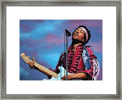 Jimi Hendrix Painting 2 Framed Print by Paul Meijering
