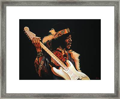 Jimi Hendrix Painting 3 Framed Print by Paul Meijering