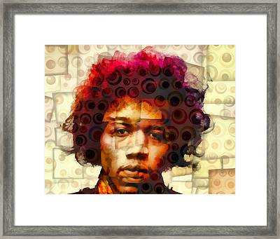 Jimi Hendrix Abstract Cubism Framed Print by Dan Sproul