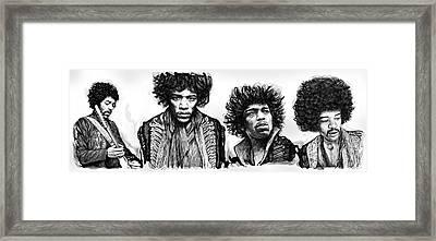 Jimi Hendrix Art Drawing Sketch Poster  Framed Print by Kim Wang