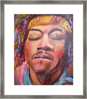 Jimi Hendrix Framed Print by Carol Boss