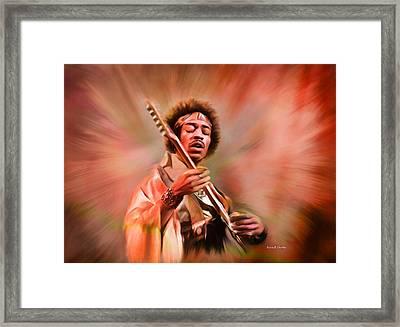 Jimi Hendrix Electrifying Guitar Play Framed Print by Angela A Stanton