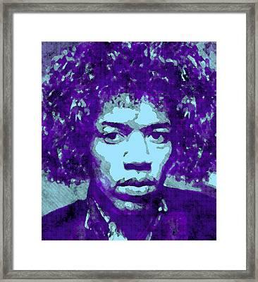 Jimi Hendrix In Purple Framed Print by Daniel Hagerman