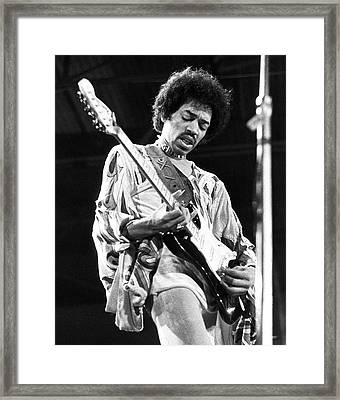 Jimi Hendrix Live 1970 Framed Print by Chris Walter