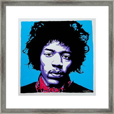 Jimi Hendrix Framed Print by Nancy Mergybrower