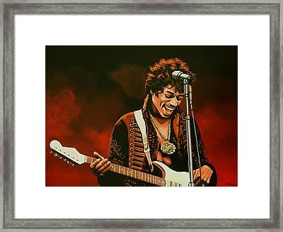 Jimi Hendrix Painting Framed Print by Paul Meijering