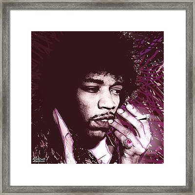 Jimi Hendrix Purple Haze Red Framed Print by Tony Rubino