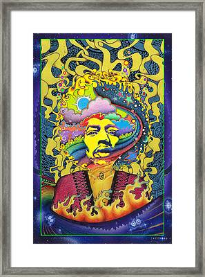 Jimi Hendrix Rainbow King Framed Print by Jeff Hopp