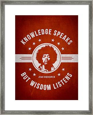 Jimi Hendrix - Red Framed Print by Aged Pixel