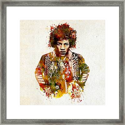 Jimi Hendrix Watercolor Framed Print by Marian Voicu