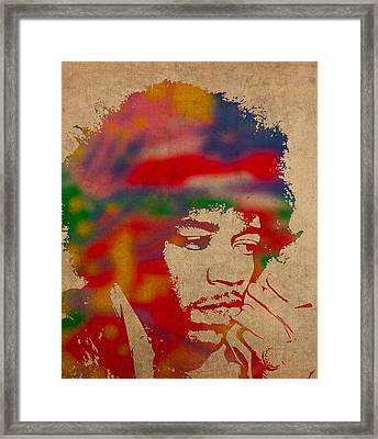 Jimi Hendrix Watercolor Portrait On Worn Distressed Canvas Framed Print by Design Turnpike