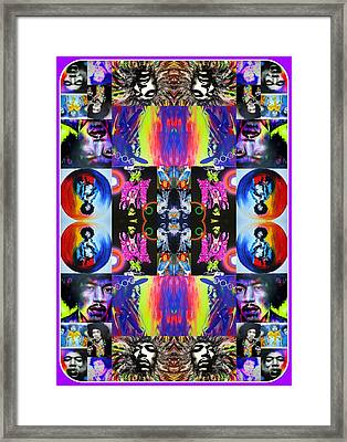 Jimi Hendrix - ' Jimi Kaleidoscope I ' Framed Print by Christian Chapman Art