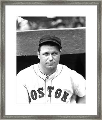 Jimmie Foxx In Dugout Framed Print by Retro Images Archive