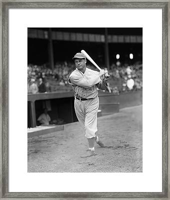 Jimmie Foxx Swings Through Framed Print by Retro Images Archive
