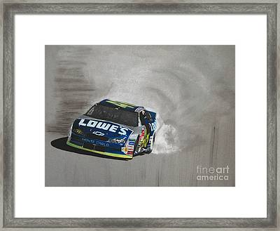 Jimmie Johnson-victory Burnout Framed Print by Paul Kuras
