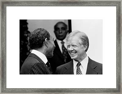 Jimmy Carter And Anwar Sadat 1980 Framed Print by Mountain Dreams