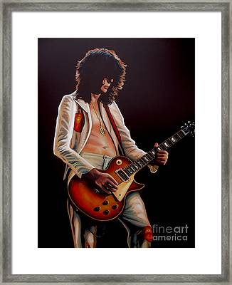Jimmy Page In Led Zeppelin Painting Framed Print by Paul Meijering